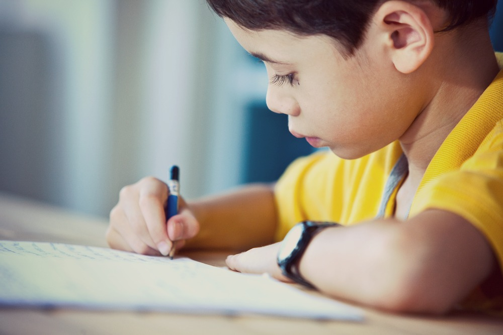 Young boy doing his homework in a home environment